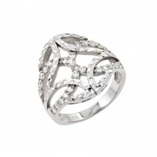 Wholesale Sterling Silver 925 Rhodium Plated Clear CZ Filigree Ring - STR00958