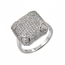 Sterling Silver Rhodium Plated Clear Micro Pave CZ Heart Square Ring - STR00959