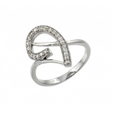 Sterling Silver Rhodium Plated Clear CZ Inlay Curl Ring - STR00960