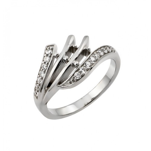 Wholesale Sterling Silver 925 Rhodium Plated Clear CZ Inlay Ring - STR00961