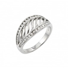 Wholesale Sterling Silver 925 Rhodium Plated CZ Inlay Filigree Ring - STR00963