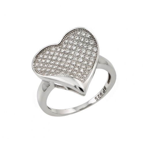 Sterling Silver Rhodium Plated Micro Pave Set Clear CZ Heart Ring - STR00964