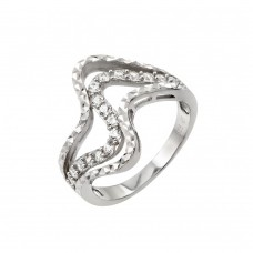 Wholesale Sterling Silver 925 Rhodium Plated Clear CZ Inlay Wave Ring - STR00965