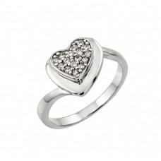 Wholesale Sterling Silver 925 Rhodium Plated Pave Set Clear CZ Heart Ring - STR00967