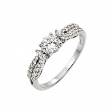 Wholesale Sterling Silver 925 Rhodium Plated Clear Center CZ Inlay Ring - STR00968