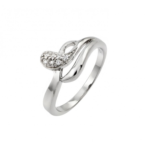 Wholesale Sterling Silver 925 Rhodium Plated Clear Pave Set CZ Snake Ring - STR00969