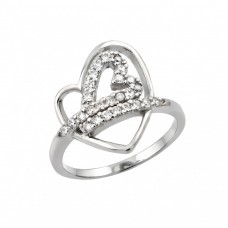 Wholesale Sterling Silver 925 Rhodium Plated Clear CZ Inlay Open Heart Ring - STR00970