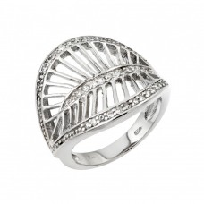 Wholesale Sterling Silver 925 Rhodium Plated Clear CZ Filigree Leaf Ring - STR00972