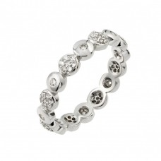 Wholesale Sterling Silver 925 Rhodium Plated Clear CZ Inlay Circle Eternity Ring - STR00973