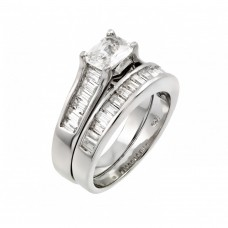 Sterling Silver Rhodium Plated Clear Baguette CZ Engagement Ring Pair Set - STR00974