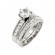 Sterling Silver Rhodium Plated Clear Baguette CZ Engagement Ring Pair Set - STR00977