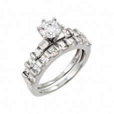 Wholesale Sterling Silver 925 Rhodium Plated CZ Clear Inlay Engagement Ring Pair Set - STR00981