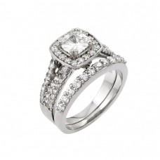 Wholesale Sterling Silver 925 Rhodium Plated Clear Cluster Square CZ Engagement Ring Pair Set - STR00983