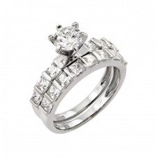 Wholesale Sterling Silver 925 Rhodium Plated CZ Engagement Ring Pair Set - STR00987