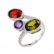 Wholesale Sterling Silver 925 Rhodium Plated Multi Colored CZ Ring - STR00988