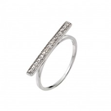 Sterling Silver Rhodium Plated Channel Clear CZ Bar Ring - STR00989