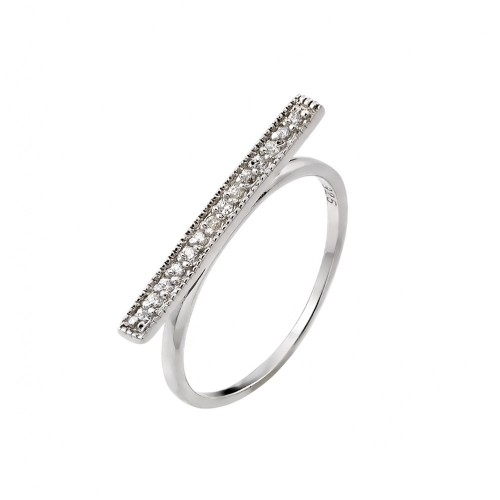 Wholesale Sterling Silver 925 Rhodium Plated Channel Clear CZ Bar Ring - STR00989