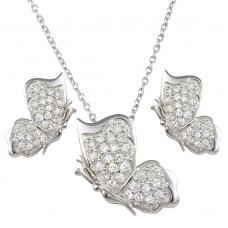 Wholesale Sterling Silver 925 Rhodium Plated Butterfly Necklace and Earrings Set - STS00272