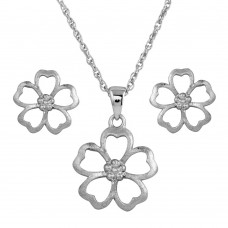 Wholesale Sterling Silver 925 Rhodium Plated Matte Finish Open Flower CZ Set - STS00385