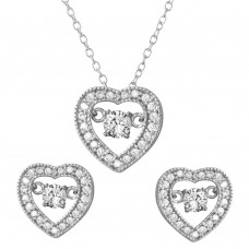 Wholesale Sterling Silver 925 Rhodium Plated Open Heart with Hanging Round CZ in the Center Set - STS00490