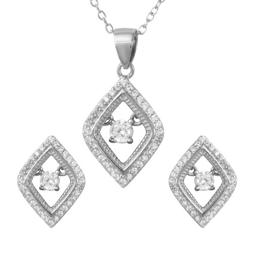Wholesale Sterling Silver 925 Rhodium Plated Open Diamond Shaped Set with Dangling Round CZ in the Center - STS00491