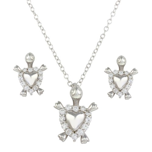 Wholesale Sterling Silver 925 Rhodium Plated Turtle with Heart Shell and CZ - STS00492