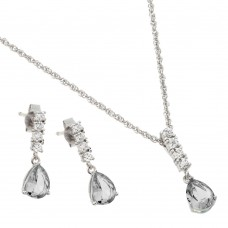Wholesale Sterling Silver 925 Rhodium Plated Purple Teardrop CZ Dangling Stud Earring and Necklace Set - STS00494APR
