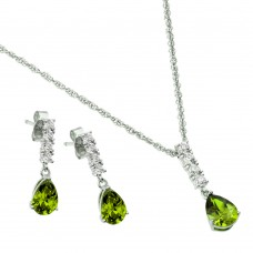 Wholesale Sterling Silver 925 Rhodium Plated Purple Teardrop CZ Dangling Stud Earring and Necklace Set - STS00494AUG