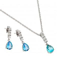 Wholesale Sterling Silver Rhodium Plated Purple Teardrop CZ Dangling Stud Earring and Necklace Set - STS00494DEC