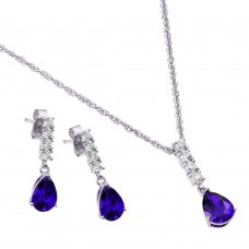 Wholesale Sterling Silver 925 Rhodium Plated Purple Teardrop CZ Dangling Stud Earring and Necklace Set - STS00494FEB
