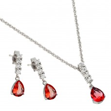 Wholesale Sterling Silver 925 Rhodium Plated Purple Teardrop CZ Dangling Stud Earring and Necklace Set - STS00494JUL