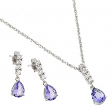 Wholesale Sterling Silver 925 Rhodium Plated Purple Teardrop CZ Dangling Stud Earring and Necklace Set - STS00494JUN