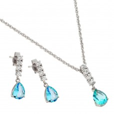 Wholesale Sterling Silver 925 Rhodium Plated Purple Teardrop CZ Dangling Stud Earring and Necklace Set - STS00494MAR