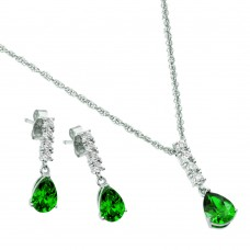 Wholesale Sterling Silver Rhodium Plated Purple Teardrop CZ Dangling Stud Earring and Necklace Set - STS00494MAY