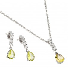 Wholesale Sterling Silver 925 Rhodium Plated Purple Teardrop CZ Dangling Stud Earring and Necklace Set - STS00494NOV