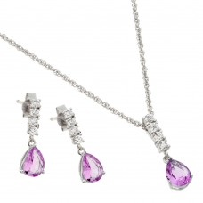 Wholesale Sterling Silver 925 Rhodium Plated Purple Teardrop CZ Dangling Stud Earring and Necklace Set - STS00494OCT