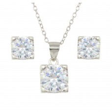 Wholesale Sterling Silver 925 Rhodium Plated Boxed CZ Stone Necklace and Earrings Set - STS00514