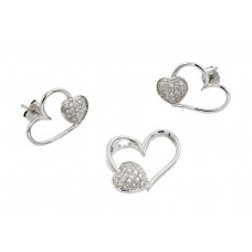 Wholesale Sterling Silver 925 Rhodium Plated Open Heart CZ Stud Earring and Necklace Set - STS00477