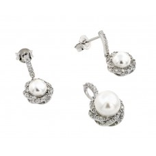 Wholesale Sterling Silver 925 Rhodium Plated Twist Desing CZ Center Pearl Dangling Stud Earring and Necklace Set - STS00479
