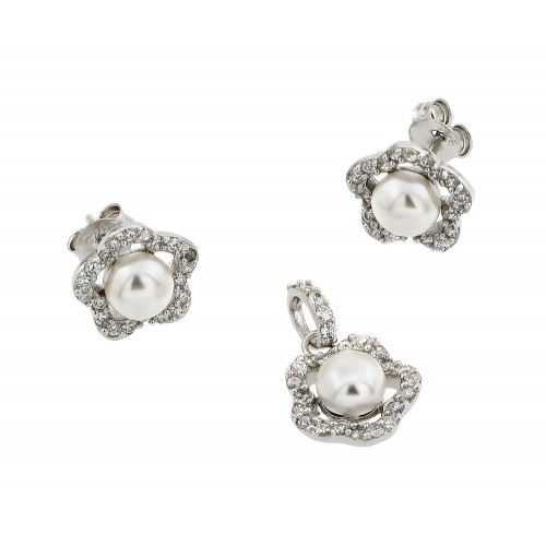 Wholesale Sterling Silver 925 Rhodium Plated Flower CZ Center Pearl Stud Earring and Necklace Set - STS00480