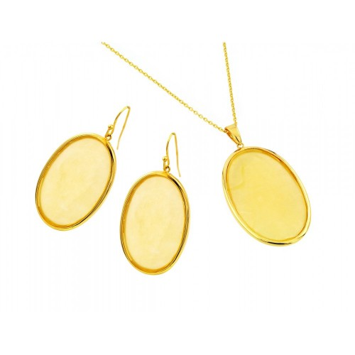 Wholesale Sterling Silver 925 Gold Plated Oval Dangling Hook Earring and Necklace Set - STS00481