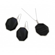 Wholesale Sterling Silver 925 Rhodium Plated Black Octagon CZ Dangling Hook Earring and Necklace Set - STS00482