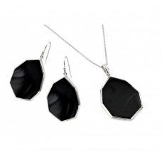 Wholesale Sterling Silver 925 Rhodium Plated Teardrop Octagon Dangling Hook Earring and Necklace Set - STS00483