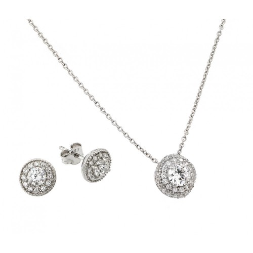 Wholesale Sterling Silver 925 Rhodium Plated Round CZ Stud Earring and Necklace Set - STS00484