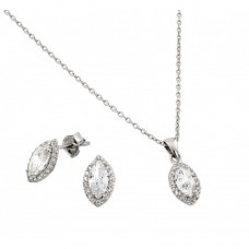 Wholesale Sterling Silver 925 Rhodium Plated Marquis CZ Stud Earring and Necklace Set - STS00485 CZ