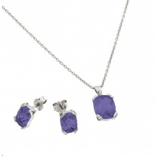 Wholesale Sterling Silver 925 Rhodium Plated Amethyst CZ Stud Earring and Necklace Set - STS00486FEB