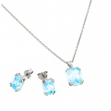 Wholesale Sterling Silver 925 Rhodium Plated Blue Aquamarine CZ Stud Earring and Necklace Set - STS00486MAR