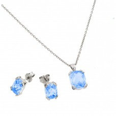 Wholesale Sterling Silver 925 Rhodium Plated Blue Zircon CZ Stud Earring and Necklace Set - STS00486DEC