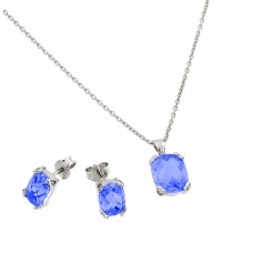 Wholesale Sterling Silver 925 Rhodium Plated Sapphire CZ Stud Earring and Necklace Set - STS00486SEP