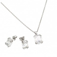 Wholesale Sterling Silver 925 Rhodium Plated Princess Cut CZ Stud Earring and Necklace Set - STS00486APR